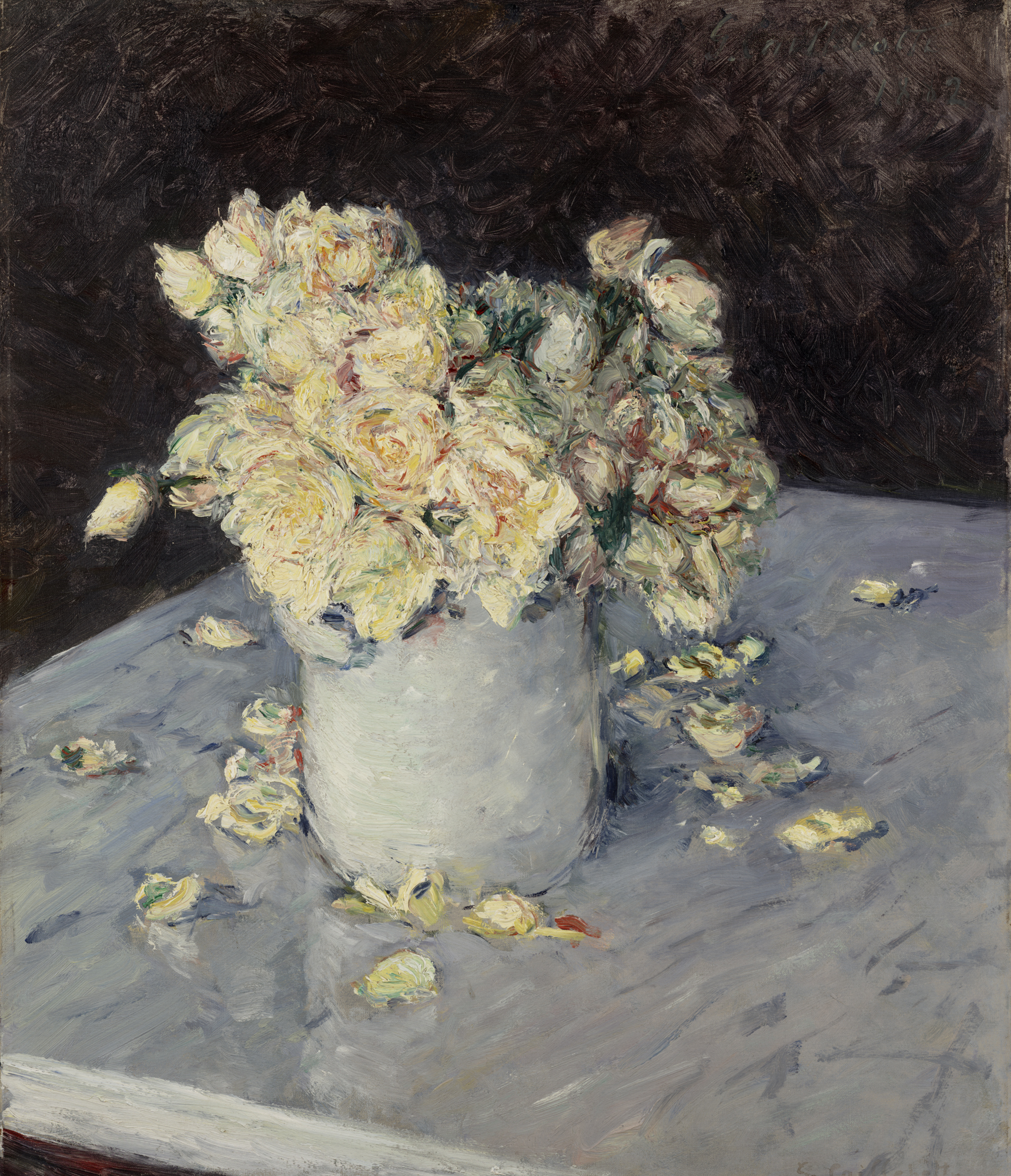 Cailebotte_-Yellow Roses in a Vase, 1882, Dallas Museum of Art